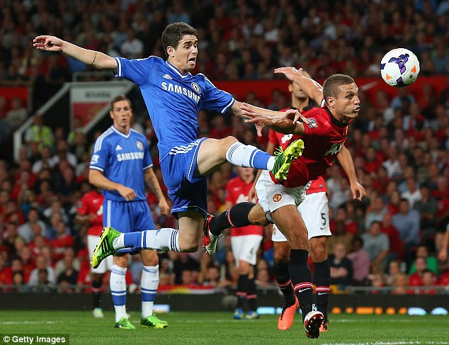Captain's word: Nemanja Vidic, challenging for the ball with Oscar, was not surprised by the reception