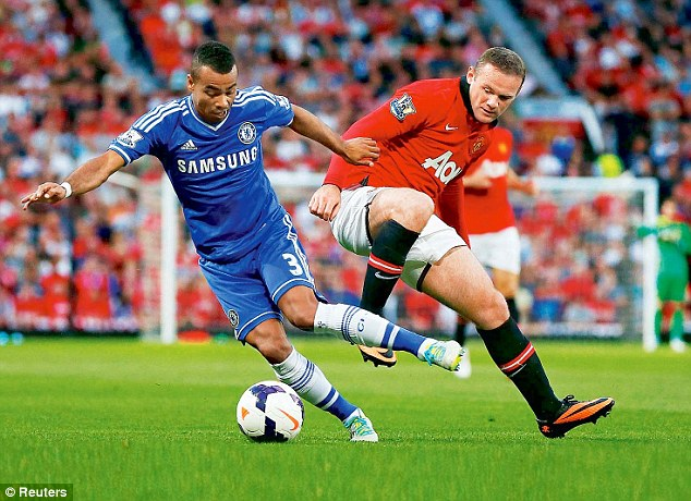 Committed: Rooney (right), challenging Chelsea's Ashley Cole, put in a good display on Monday