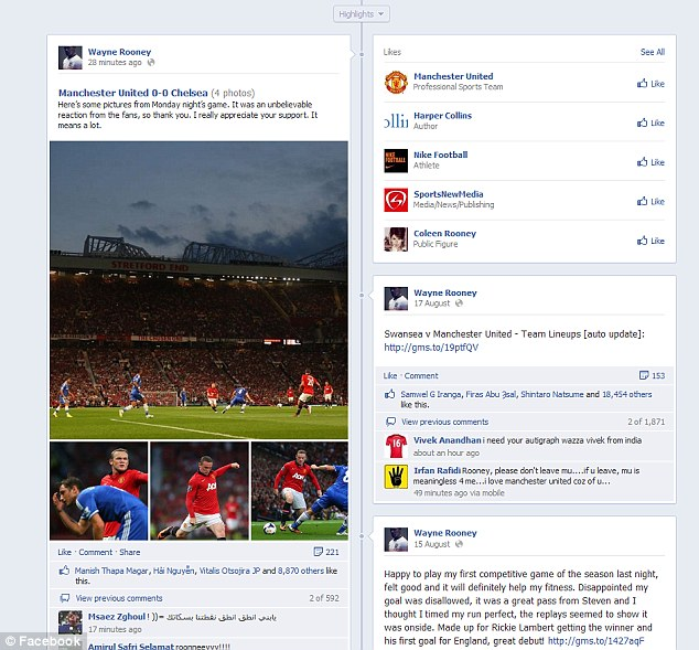 Writing's on the wall: Wayne Rooney took to Facebook to thank Old Trafford fans on Monday night