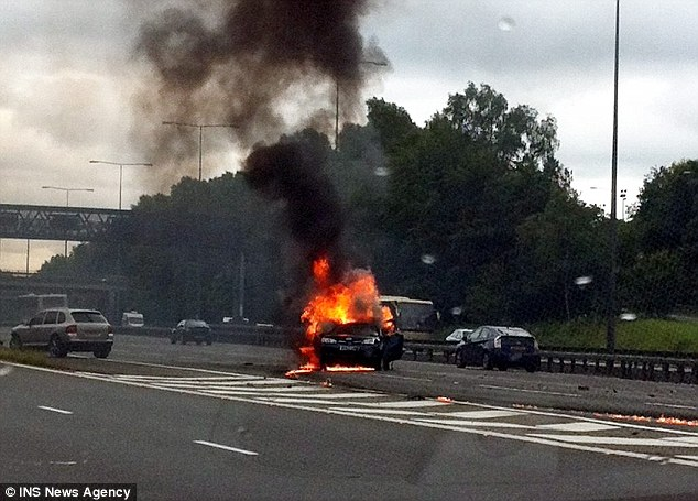 Fireball: The collision's force sent Mrs Haines's vehicle spinning along the southbound carriageway of the M40 motorway, before it burst into flames