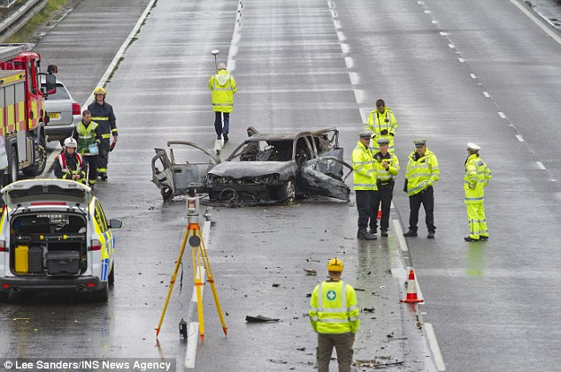 Wreckage: Mithcell told the jury as an experienced lorry driver he was used to driving in lane one