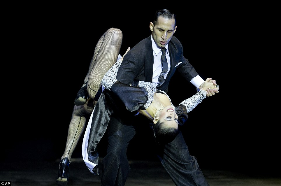 Dancers Ariel Leguizamon and Yesica Esquivel compete in the stage finals. More than 500 couples from 37 countries have been competing in the world's top two-week tango festival