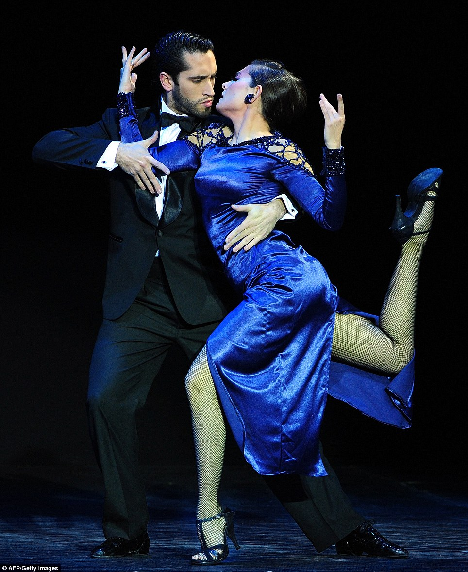 Argentina's Nicolas Matias Schell and Macarena Schinca Rosas took second place during the Stage Tango competition of the Tango World Championship in Buenos Aires