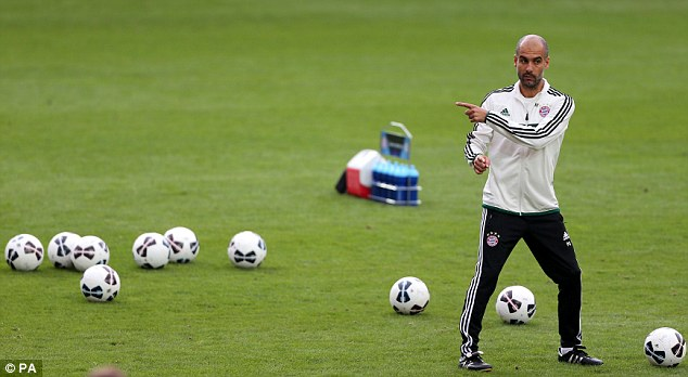 One direction: Guardiola shouts his instructions during bayern training