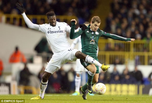 Target: Adebayor could leave Tottenham just a year after signing permanently