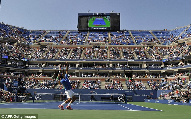 Long way up: Federer played his second-round match during the day session on Arthur Ashe Stadium