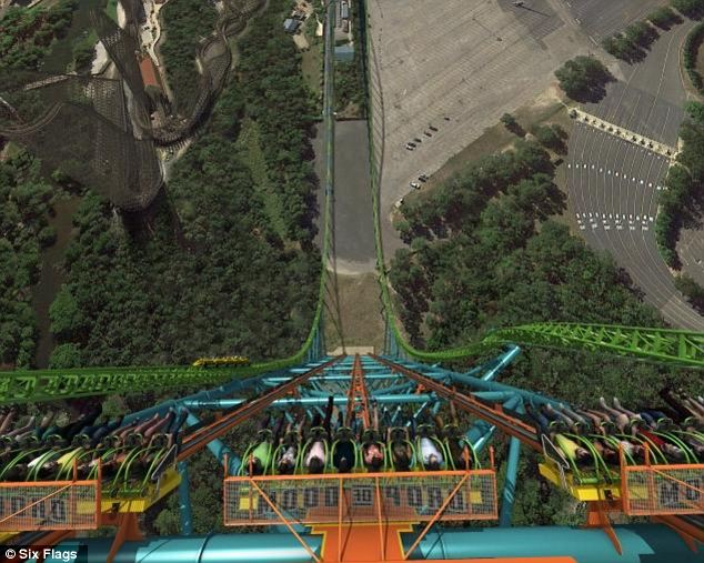 Breathtaking: Zumanjaro will drop brave riders 41 stories at 90mph. At the top, they'll be able to see the skyline of Philadelphia 52 miles away