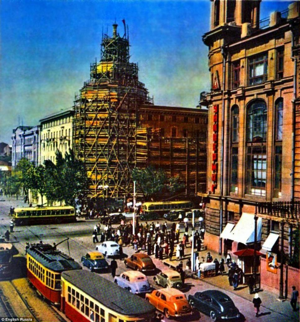 A department store is shown being built in a Russian city: In the early-Fifties the Soviet Union was still recovering from the ravages of the Second World War