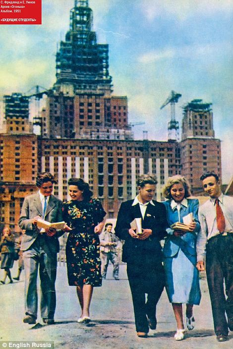 Under construction: A fine example of grand Stalin-era architecture is shown under construction as the bright young things of socialism walk towards the camera