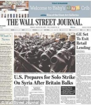 The Wall Street Journal front page read: US prepares for solo strike on Syria after Britain balks