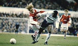 No quarter given: Sol Campbell blocks Ray Parlour in 1995