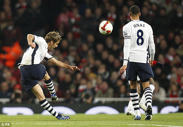 Breathtaking: David Bentley scored a stunning 35-yard volley during the incredible 4-4 draw in 2008