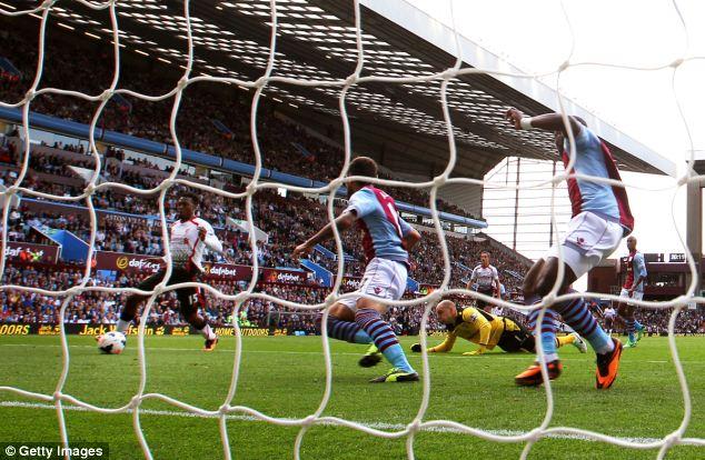 Winner: The former Manchester City man scores at Villa Park