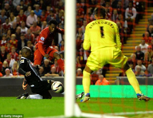 Winner: Daniel Sturridge scores Liverpool's third goal against Notts County
