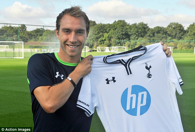 Midfield maestro: Christian Eriksen is unveiled at Spurs' training ground on Friday