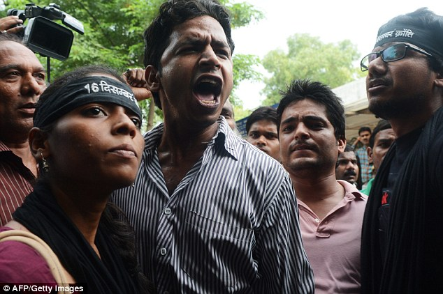 Protest: The news of the verdict was met with slogans like 'We want justice' and 'Hang the juvenile too' outside the premises by people who claimed to be members of an activist group called 16 December Krant