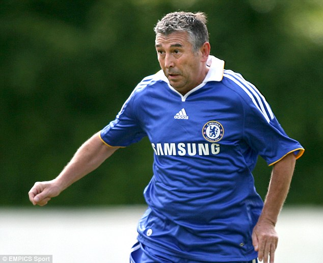 Then and now: Britton in action for Chelsea's veterans team, with considerably less hair than his heyday