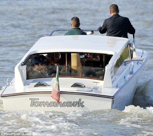 He's on a boat: James hitched a ride on a boat named Tomohawk as he enjoyed more downtime during the Venice Film Festival on Saturday