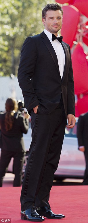 More suits: Actor Tom Welling hit the red carpet at the Venice Film Festival on Sunday looking suave in a crisp suit