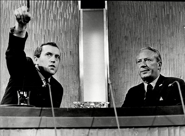 Sir David's list of interviewees reads like a roll call of the world's most famous and powerful people. They include virtually every US president and British prime minister during his working life. Pictured interviewing Sir Edward Heath