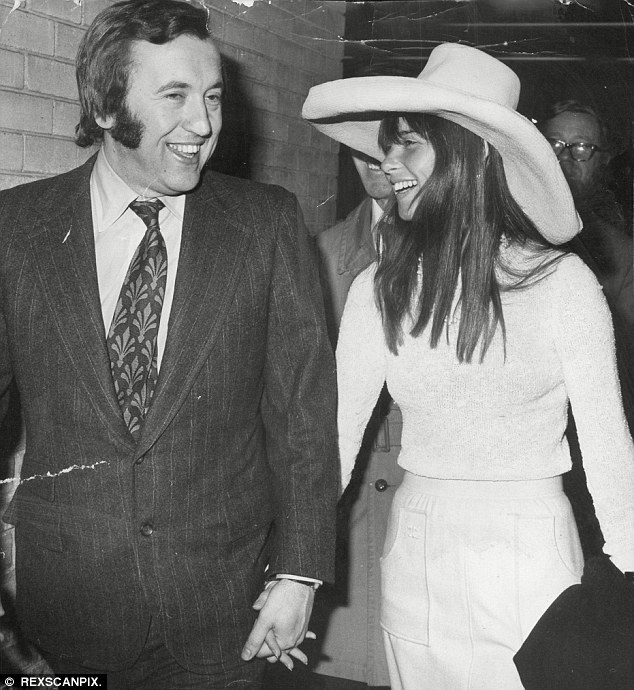 Sir David with Caroline Cushing. She went to LA with him when he interviewed former President Richard Nixon