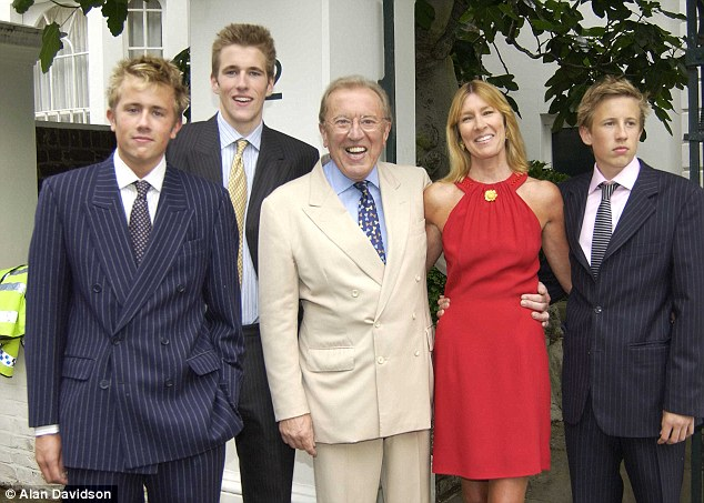 Sir David Frost at his annual Summer Garden Party with his wife Lady Carina Frost with their sons Miles,Wilfred & George