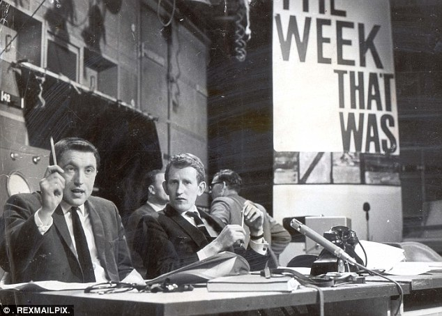 A young Sir David Frost and Lance Percival on the set of the television show That Was The Week That Was