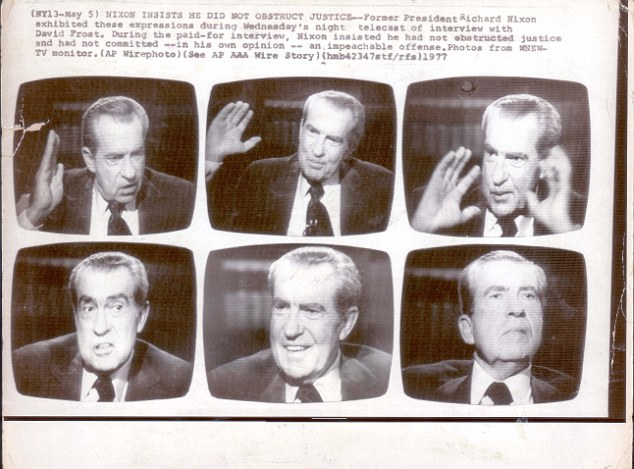 Former President Richard Nixon exhibited a range of expressions during his interview with David Frost