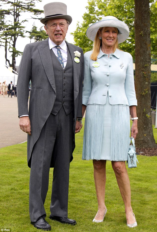 Television Presenter and Newscaster Sir David Frost with wife Lady Carina Fitzalan-Howard at Ascot in 2011