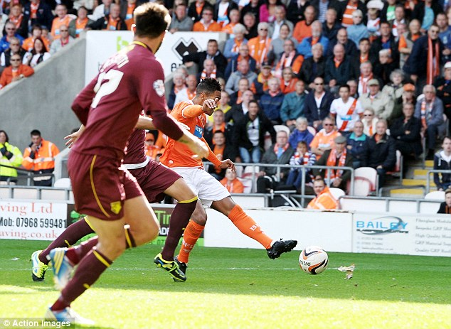 Talented: The forward scored Blackpool's goal in their 1-0 victory over Watford on Saturday