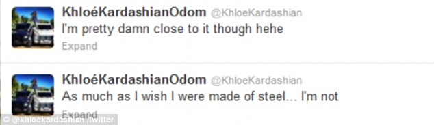Speaking out: Khloe Kardashian acknowledged her marriage woes on Twitter on Sunday