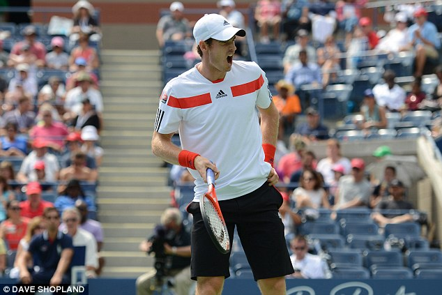 Fired up: Murray is playing for a place in the last 16