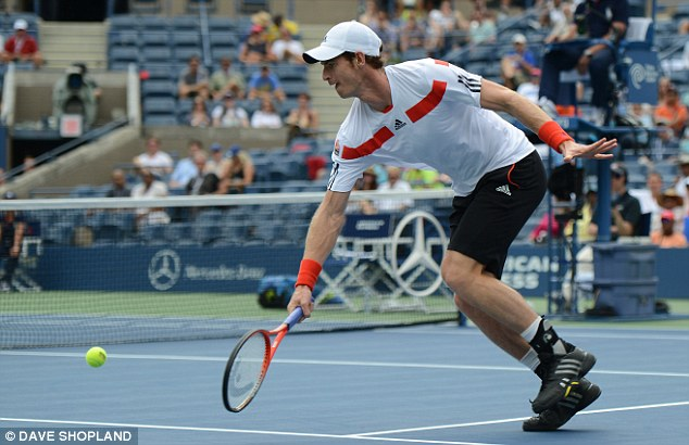 On the run: Murray chases down a Mayer drop shot