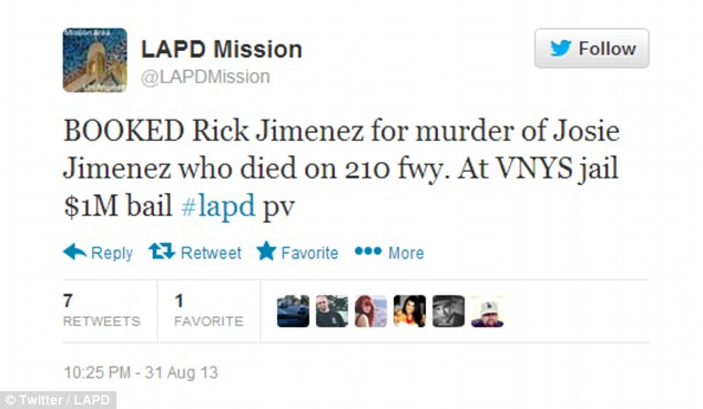 Arrested: The LAPD announce on Twitter that bail has been set at $1 million for Mr Jimenez, who is being held at Van Nuys jail