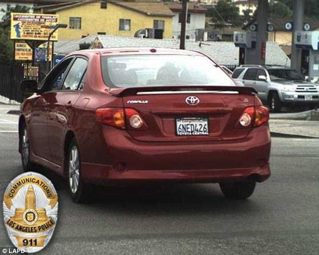 Wild driving: Rick Jimenez was seen erratically driving Josie Jimenez's Toyota Corolla on Thursday morning on a LA freeway