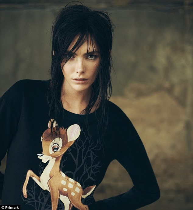 Dressing down: Weekend-wear retained a punky edge softened with cute Bambi motifs