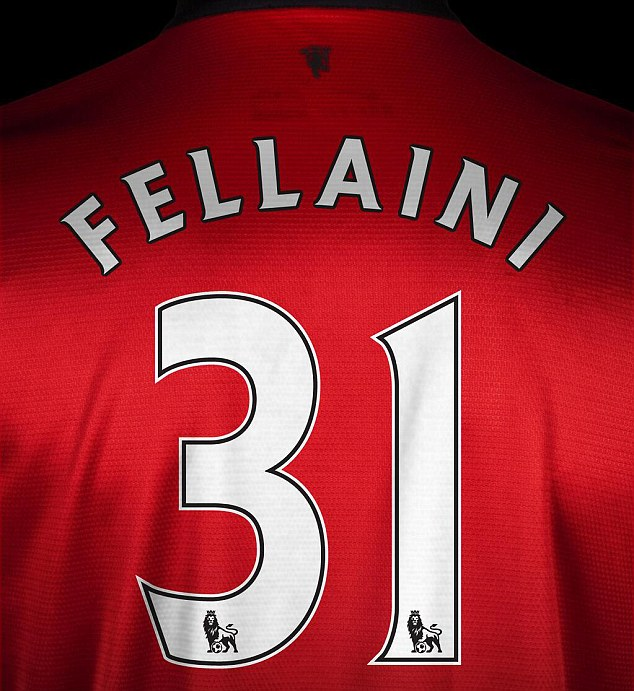 Getting shirty: Fellaini's new shirt number has been revealed by Man United