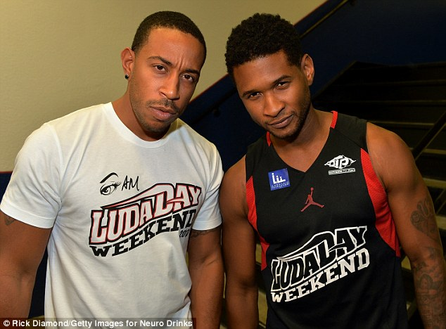 Ballers: Also seen enjoying LudaDay weekend was its founder Ludacris, born Christopher Bridges, who battled R&B singer Usher on the basketball court