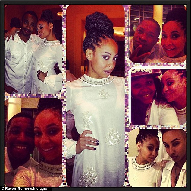 White party: On Sunday, the That's So Raven star put her braids into an elegant bun while her tattooed ladylove wore a clean white dress shirt (bottom R)