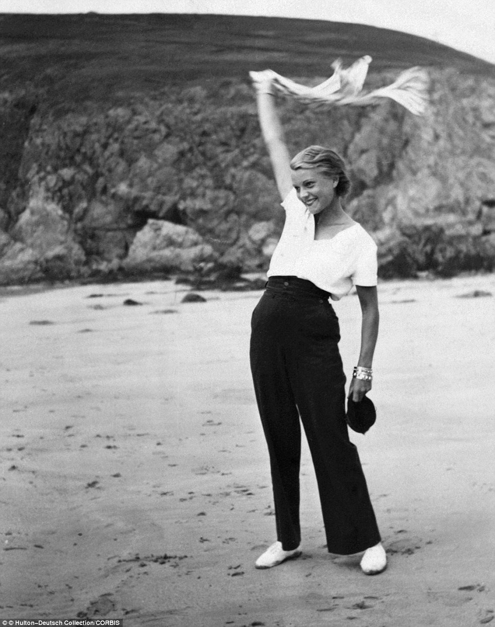 The French actress, known simply as Annabella, who appeared in 46 films between 1927 and 1952, is pictured on the beach in 1935