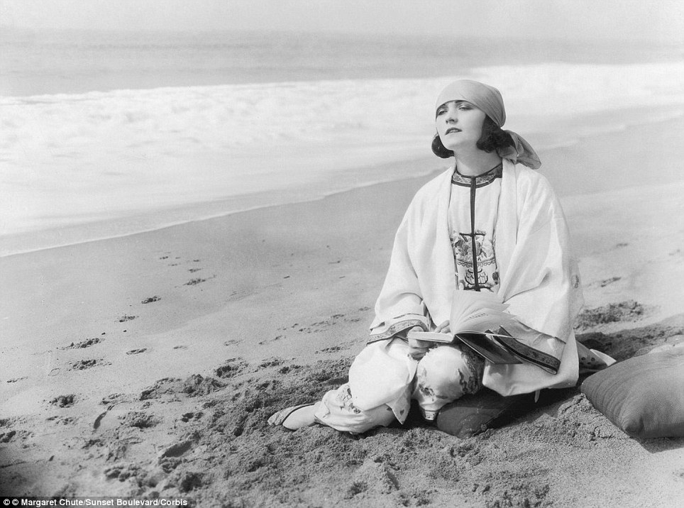 Actress Pola Negri relaxies on the beach at Santa Monica in a picture believed to have been taken around 1925