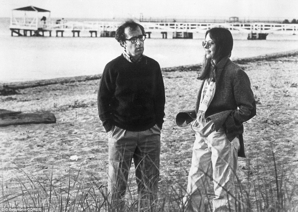 Diane Keaton and Woody Allen on an LA beach  in the film Annie Hall  from 1978