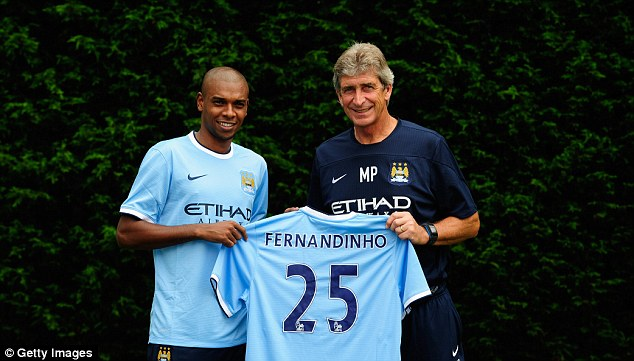 £30m man: Fernandinho was one of the first players to come in under Manuel Pellegrini