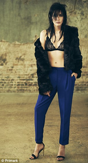Bargain: These striking cobalt blue trousers cost just £12