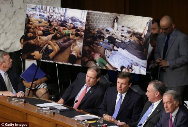 Senators saw photos of victims of chemical weapons attacks in Syria as the Obama administration officials told them why they should vote in favor of using military force