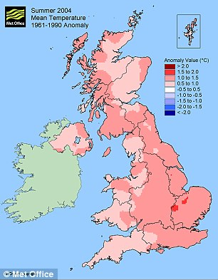 Mean temperature Summer 2004 Met Office