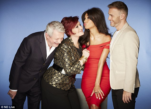Impressed: X Factor judge Louis Walsh (left) said Tamera has more potential than Leona Lewis. He is pictured with fellow judges (centre left to right) Sharon Osbourne, Nicole Scherzinger and Gary Barlow