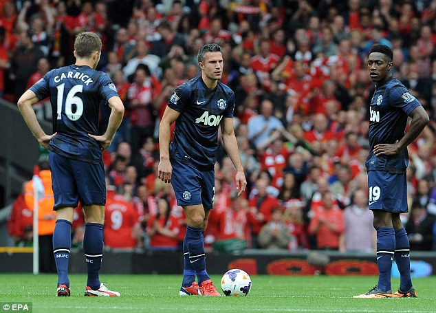 Slip: United lost 1-0 at Liverpool last weekend, with Michael Carrick, Robin van Persie and Danny Welbeck (L-R)