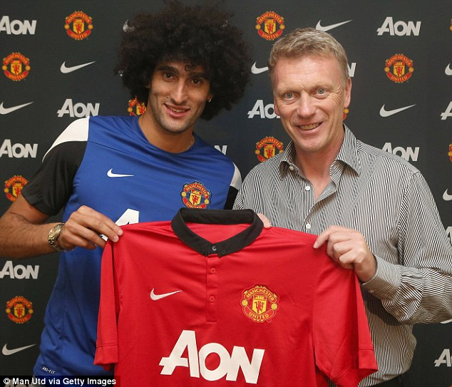 Hair today: Marouane Fellaini was Moyes' only signing, a £27.5million capture on deadline day
