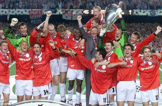 The treble: United's Champions League win followed capturing the Premier League and FA Cup
